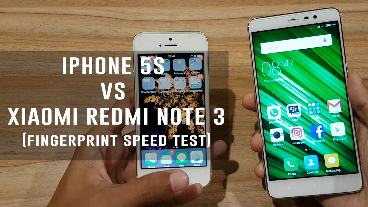 iPhone 5S VS Xiaomi Redmi Note 3 (FingerPrint Speed Test)